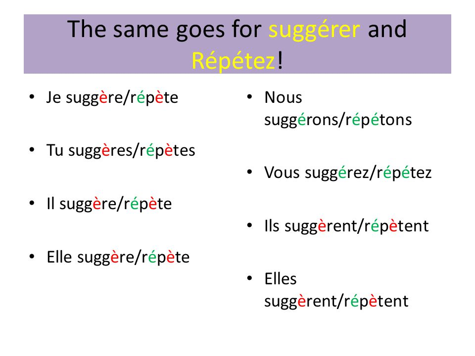 The same goes for suggérer and Répétez!