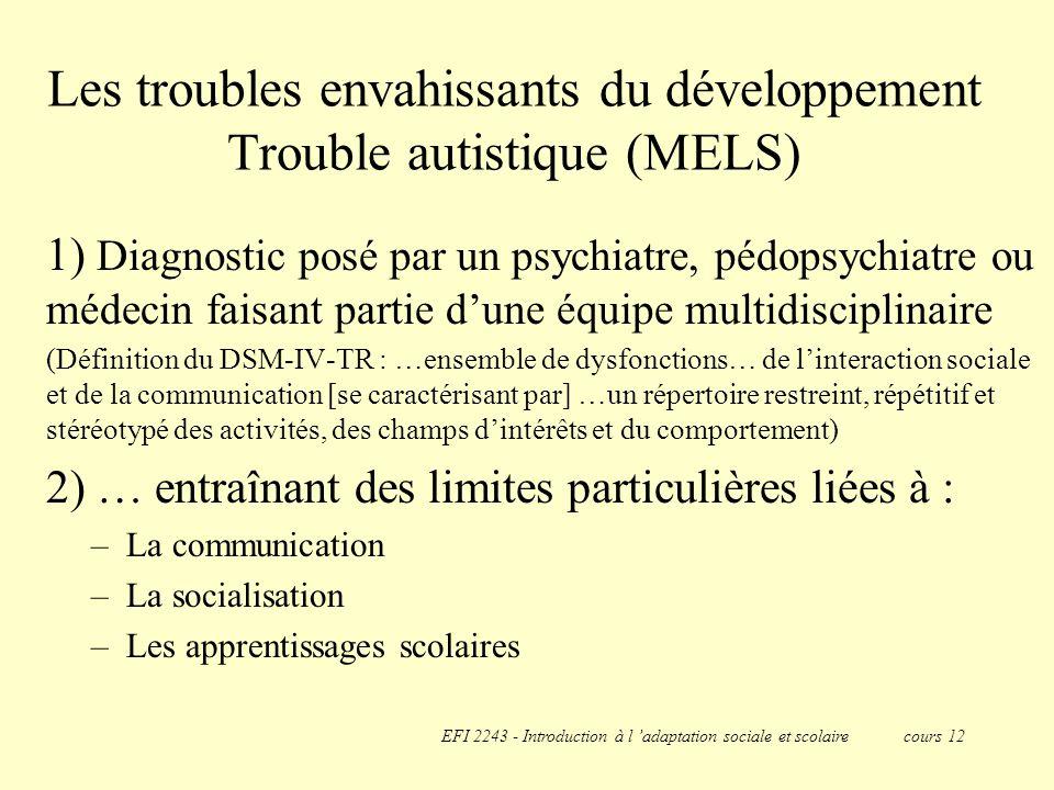 Les troubles envahissants du développement Trouble autistique (MELS)