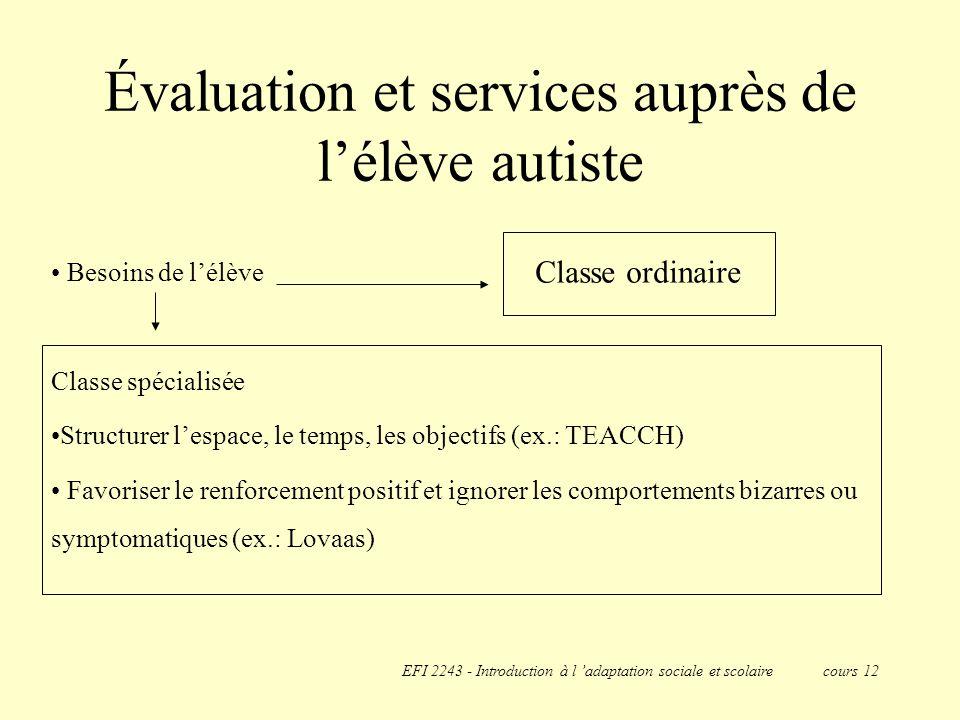 Évaluation et services auprès de l'élève autiste