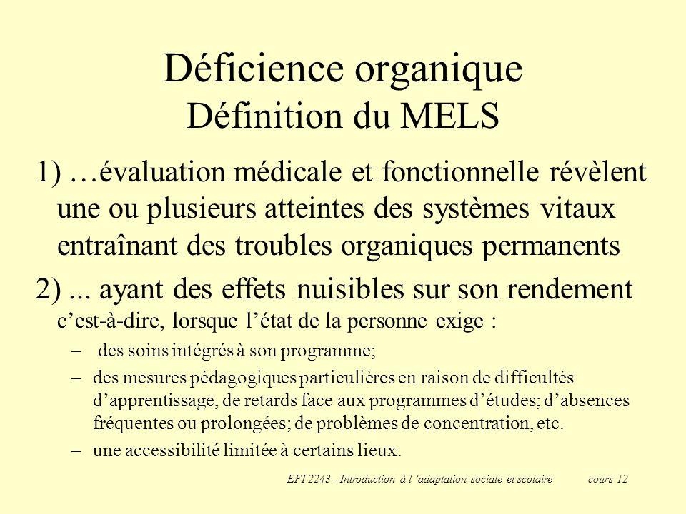 Déficience organique Définition du MELS