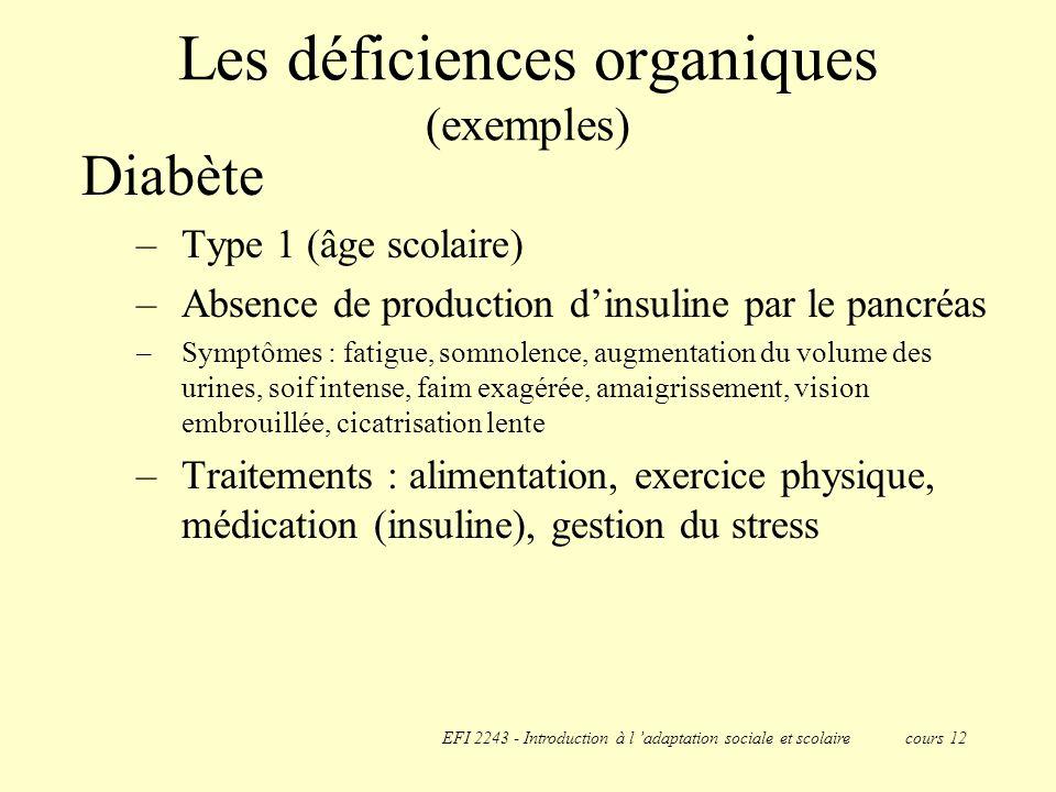 Les déficiences organiques (exemples)