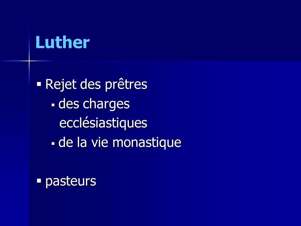 Luther Rejet des prêtres des charges ecclésiastiques