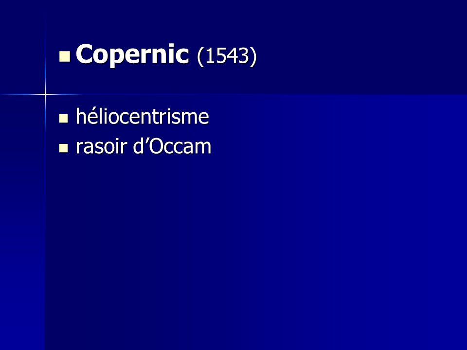 Copernic (1543) héliocentrisme rasoir d'Occam