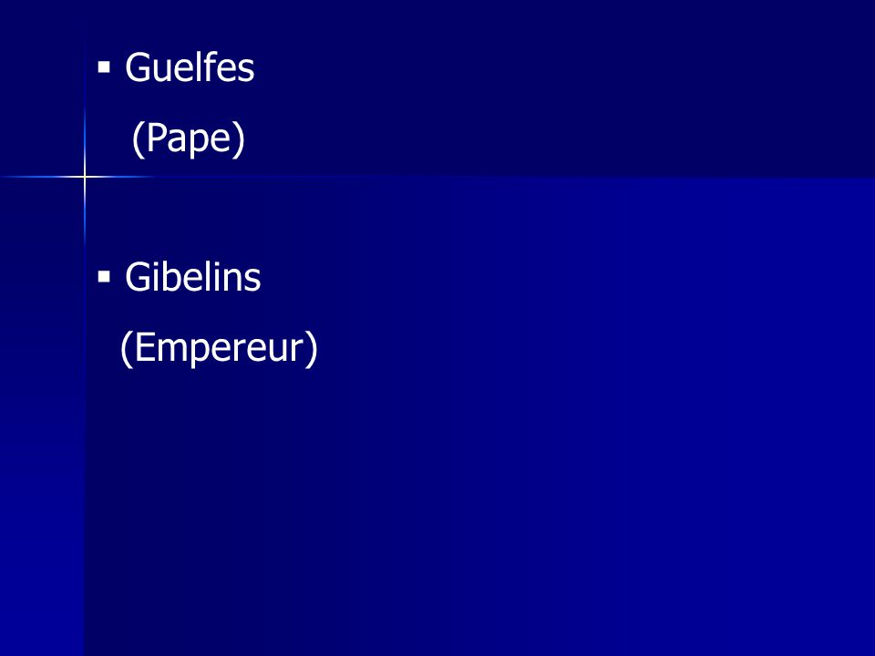 Guelfes (Pape) Gibelins (Empereur)