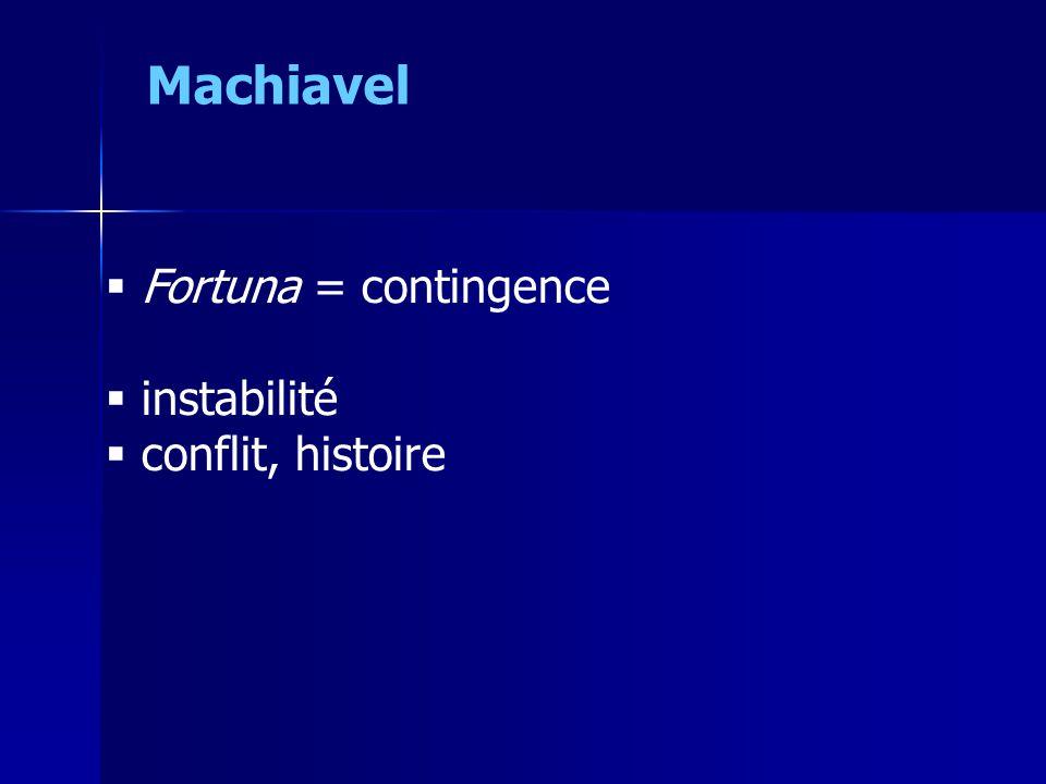 Machiavel Fortuna = contingence instabilité conflit, histoire