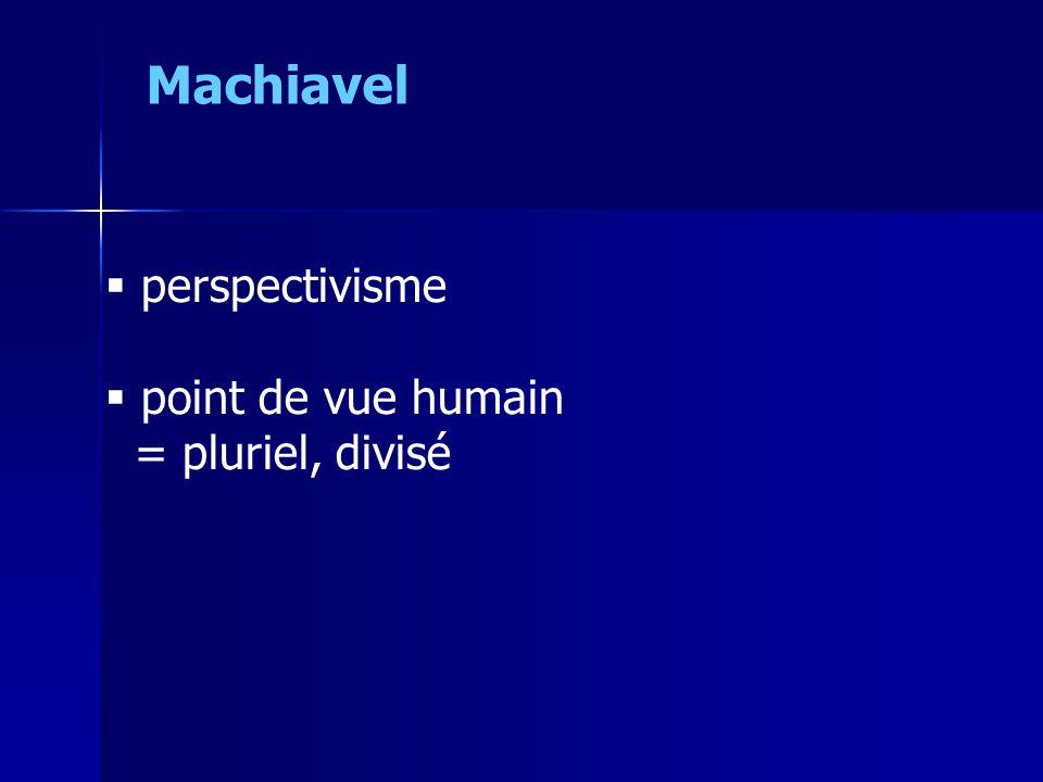 Machiavel perspectivisme point de vue humain = pluriel, divisé