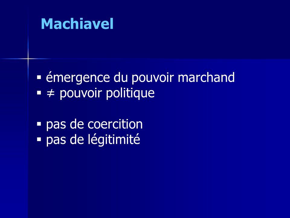 Machiavel émergence du pouvoir marchand ≠ pouvoir politique
