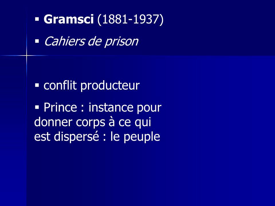 Gramsci (1881-1937) Cahiers de prison. conflit producteur.