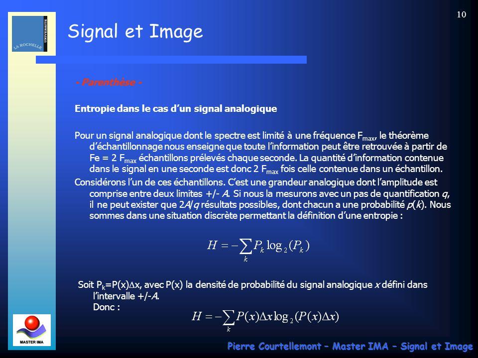 - Parenthèse - Entropie dans le cas d'un signal analogique.