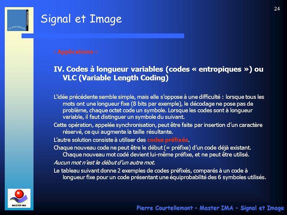 - Applications – IV. Codes à longueur variables (codes « entropiques ») ou VLC (Variable Length Coding)