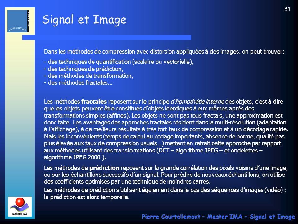 Dans les méthodes de compression avec distorsion appliquées à des images, on peut trouver: