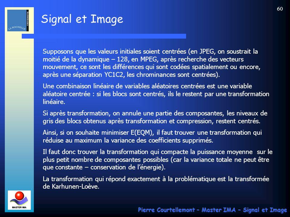 Supposons que les valeurs initiales soient centrées (en JPEG, on soustrait la moitié de la dynamique – 128, en MPEG, après recherche des vecteurs mouvement, ce sont les différences qui sont codées spatialement ou encore, après une séparation YC1C2, les chrominances sont centrées).
