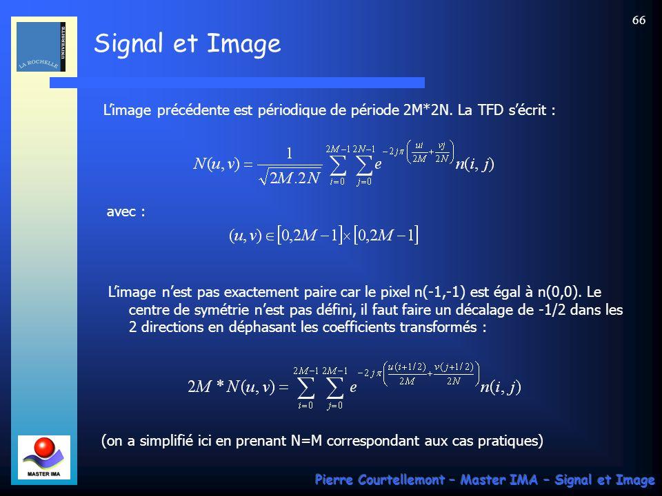 L'image précédente est périodique de période 2M*2N. La TFD s'écrit :