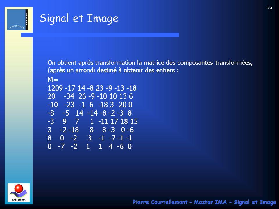 On obtient après transformation la matrice des composantes transformées, (après un arrondi destiné à obtenir des entiers :