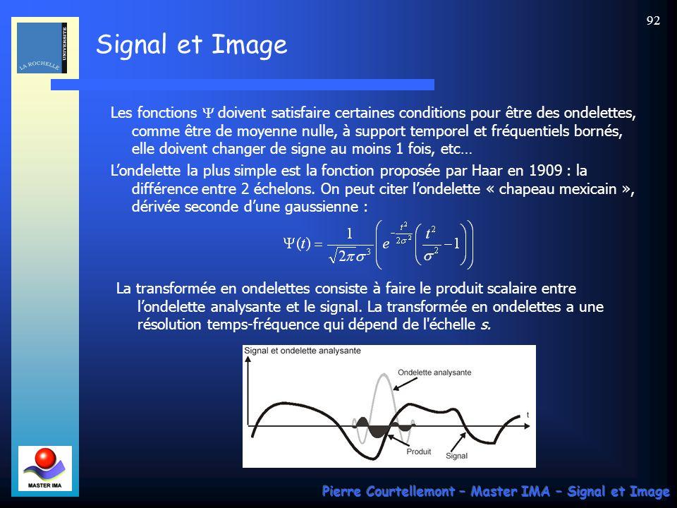 Les fonctions Y doivent satisfaire certaines conditions pour être des ondelettes, comme être de moyenne nulle, à support temporel et fréquentiels bornés, elle doivent changer de signe au moins 1 fois, etc…