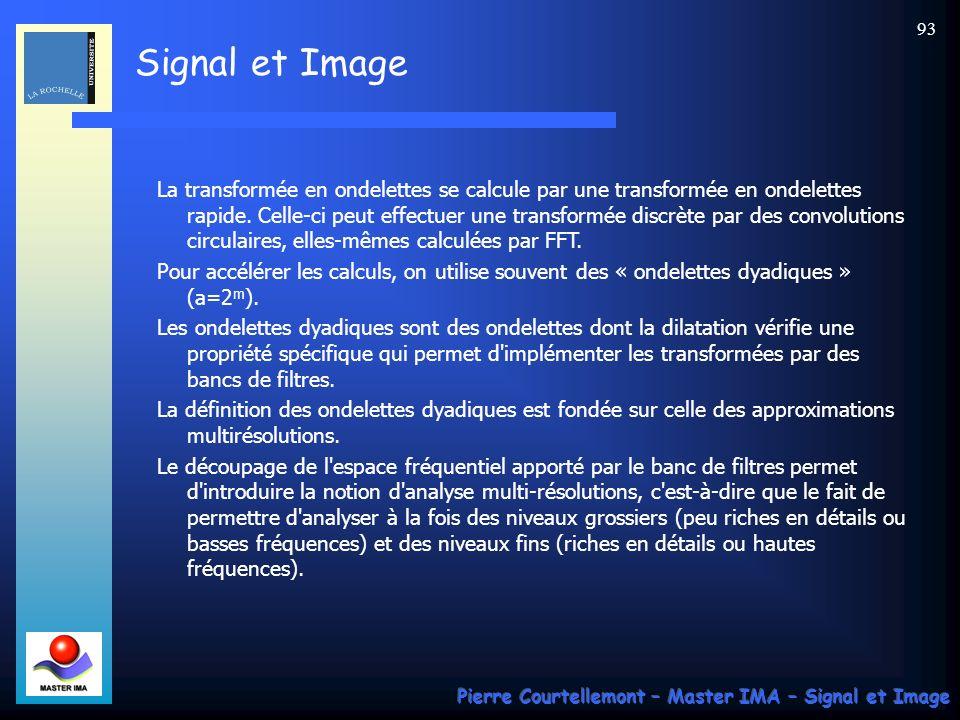 La transformée en ondelettes se calcule par une transformée en ondelettes rapide. Celle-ci peut effectuer une transformée discrète par des convolutions circulaires, elles-mêmes calculées par FFT.