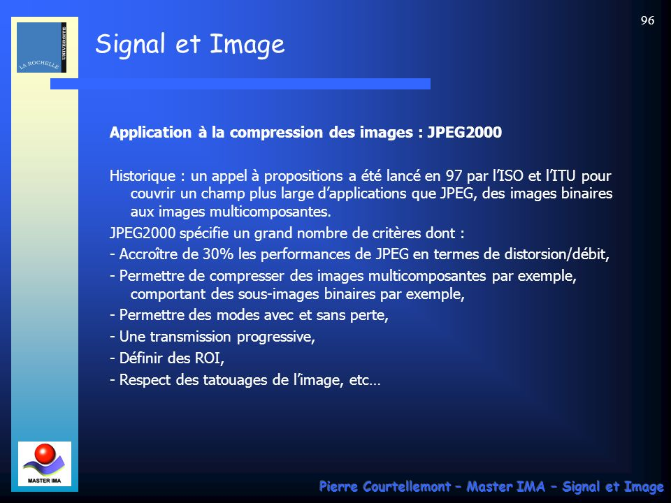 Application à la compression des images : JPEG2000