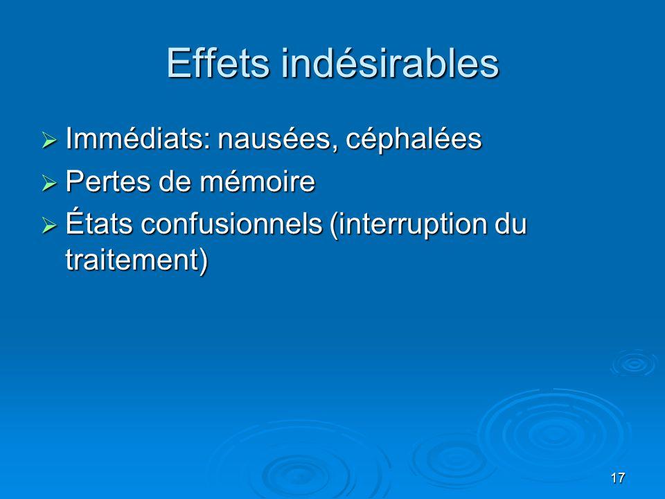 Effets indésirables Immédiats: nausées, céphalées Pertes de mémoire