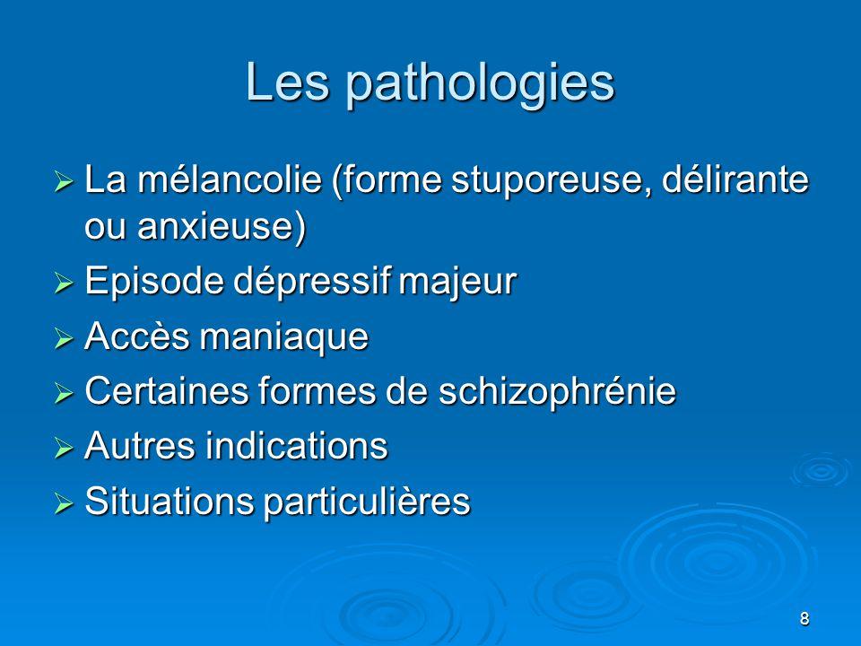 Les pathologies La mélancolie (forme stuporeuse, délirante ou anxieuse) Episode dépressif majeur. Accès maniaque.