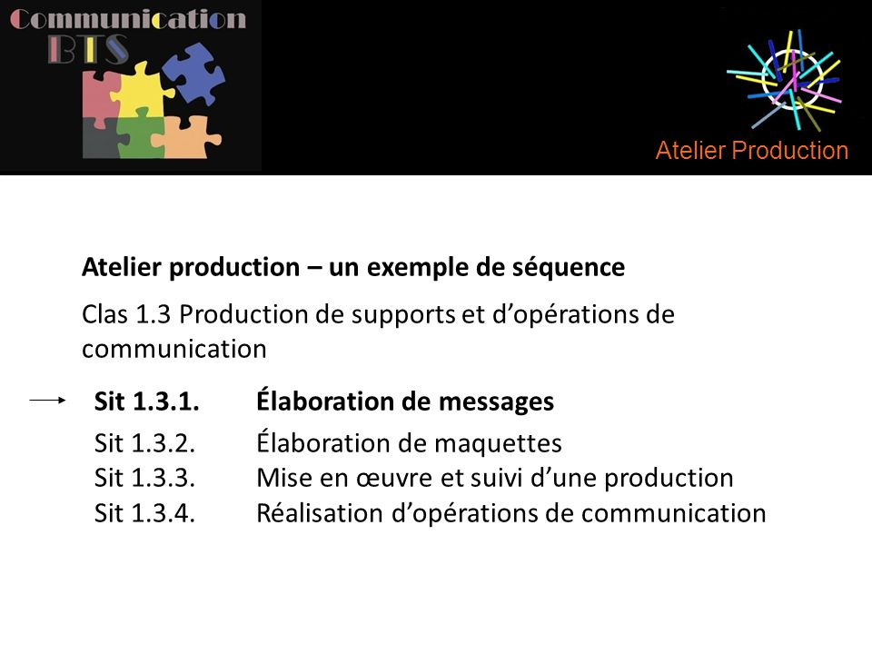 Atelier production – un exemple de séquence
