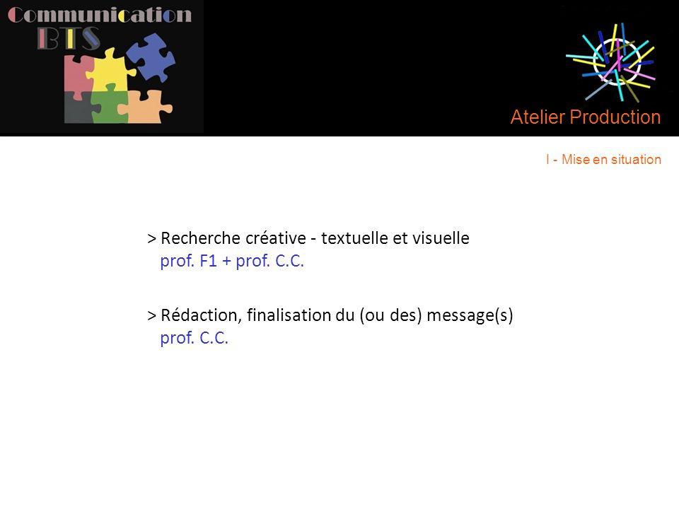 > Recherche créative - textuelle et visuelle prof. F1 + prof. C.C.