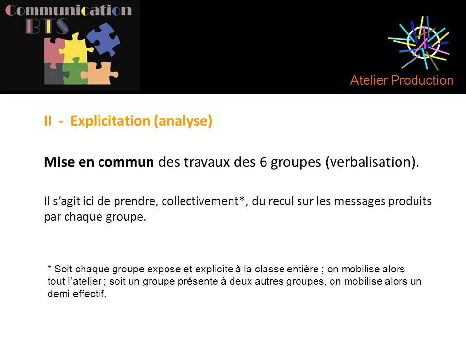 II - Explicitation (analyse)
