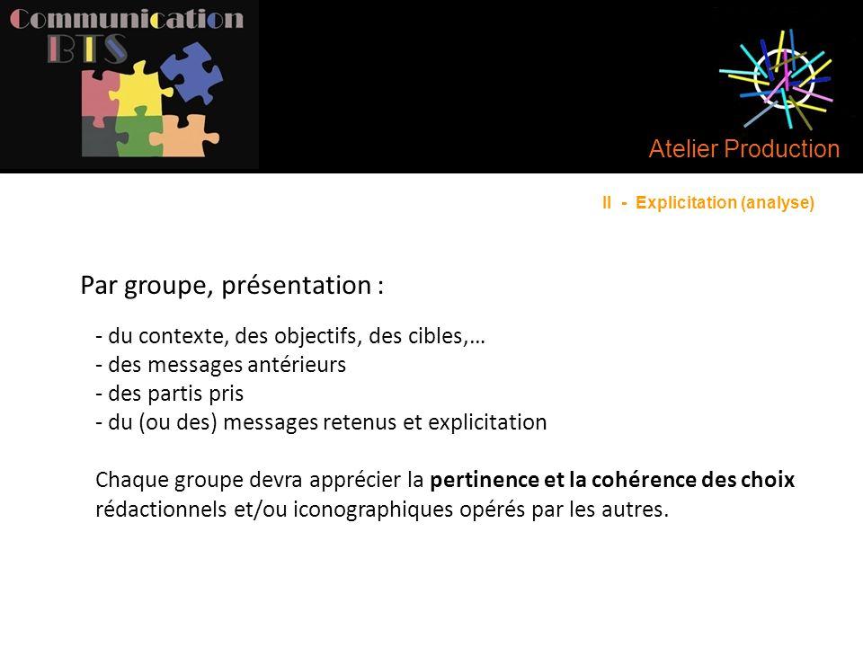Par groupe, présentation :