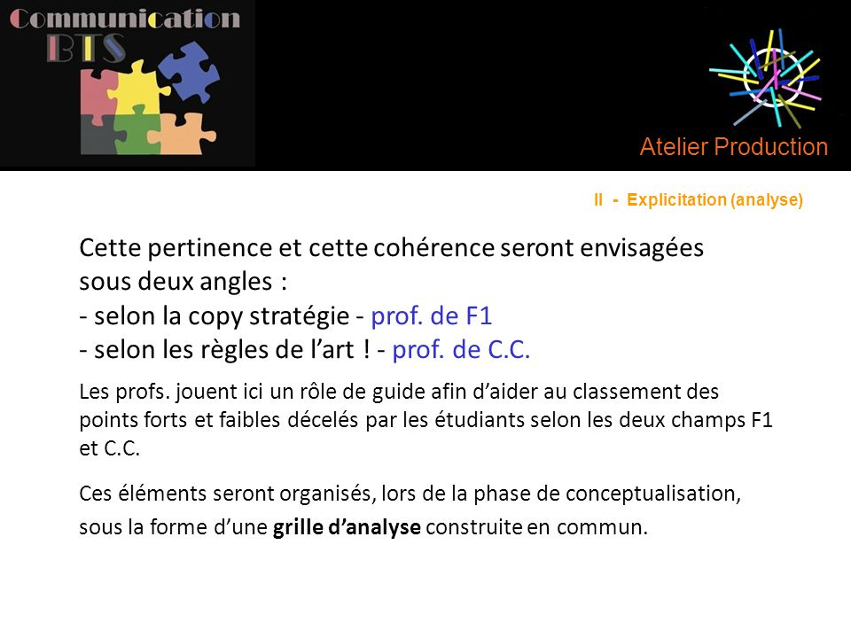 Atelier Production II - Explicitation (analyse)