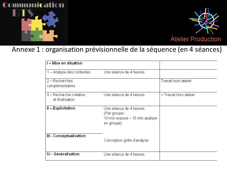 Annexe 1 : organisation prévisionnelle de la séquence (en 4 séances)