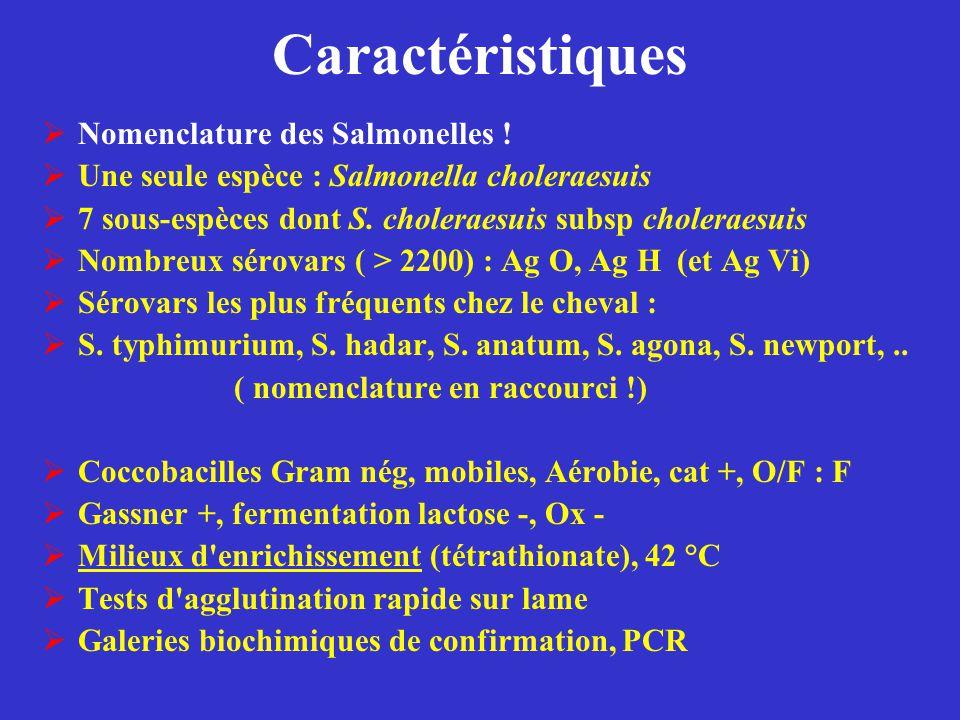 Caractéristiques Nomenclature des Salmonelles !
