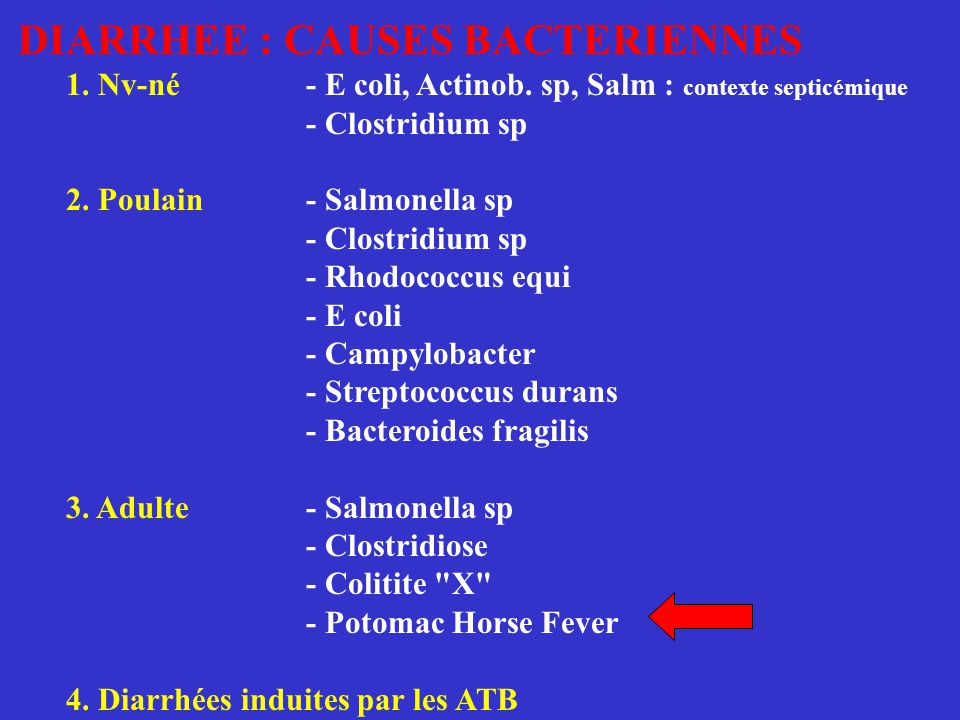 DIARRHEE : CAUSES BACTERIENNES