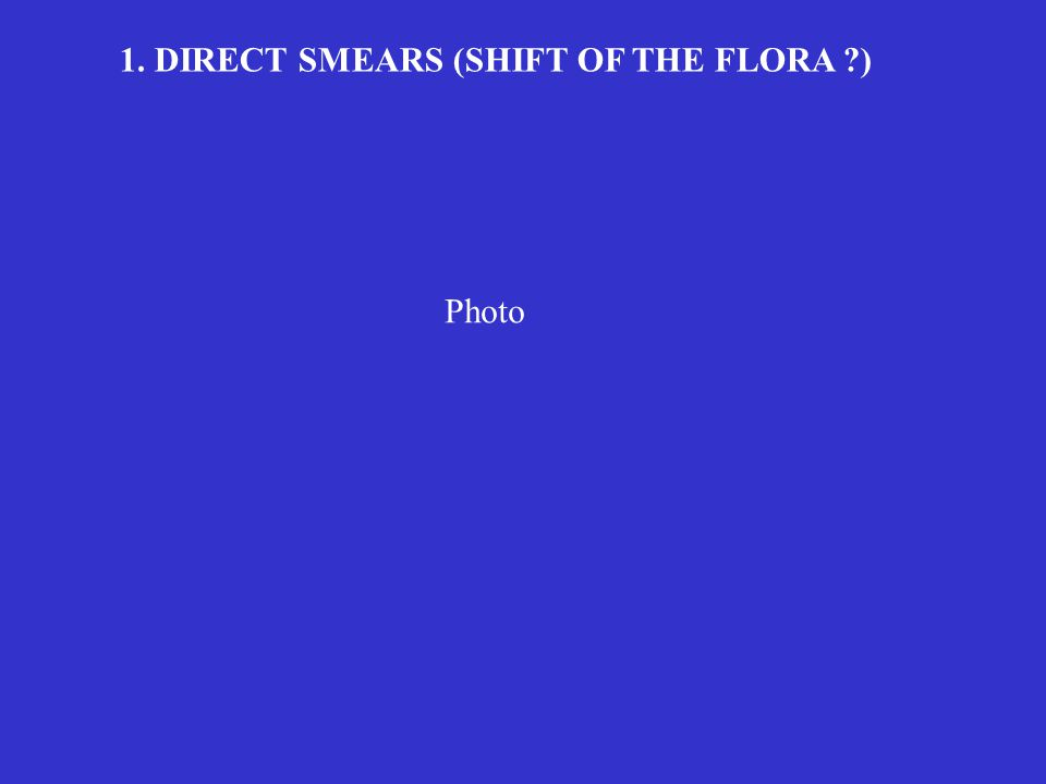 1. DIRECT SMEARS (SHIFT OF THE FLORA )