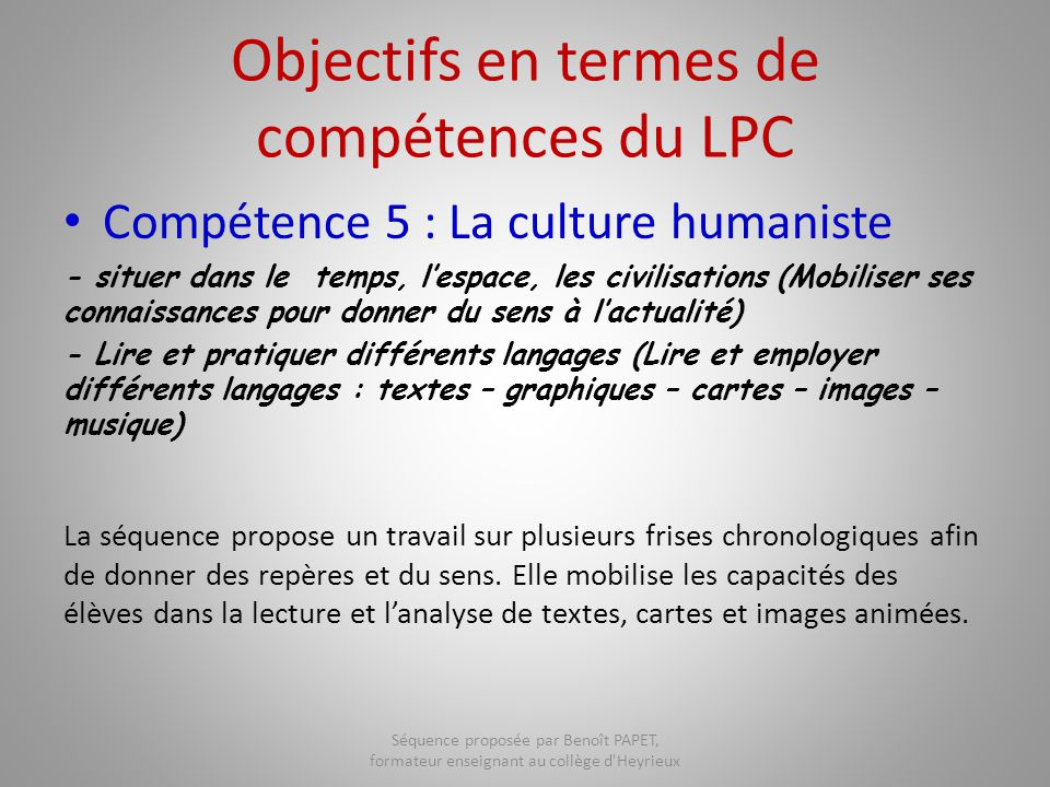 Objectifs en termes de compétences du LPC