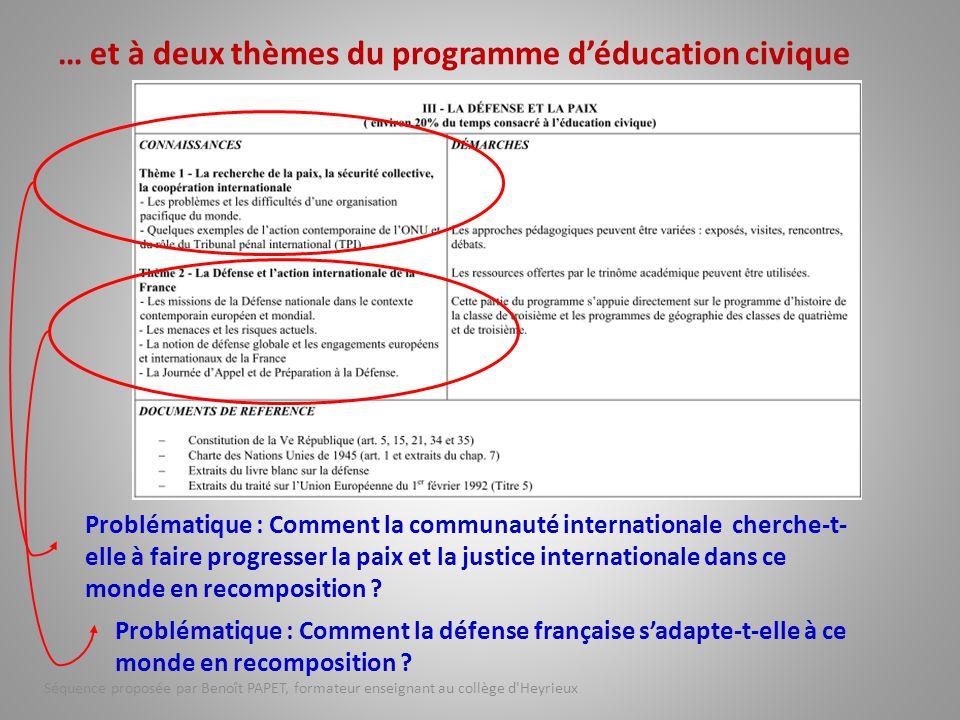 … et à deux thèmes du programme d'éducation civique