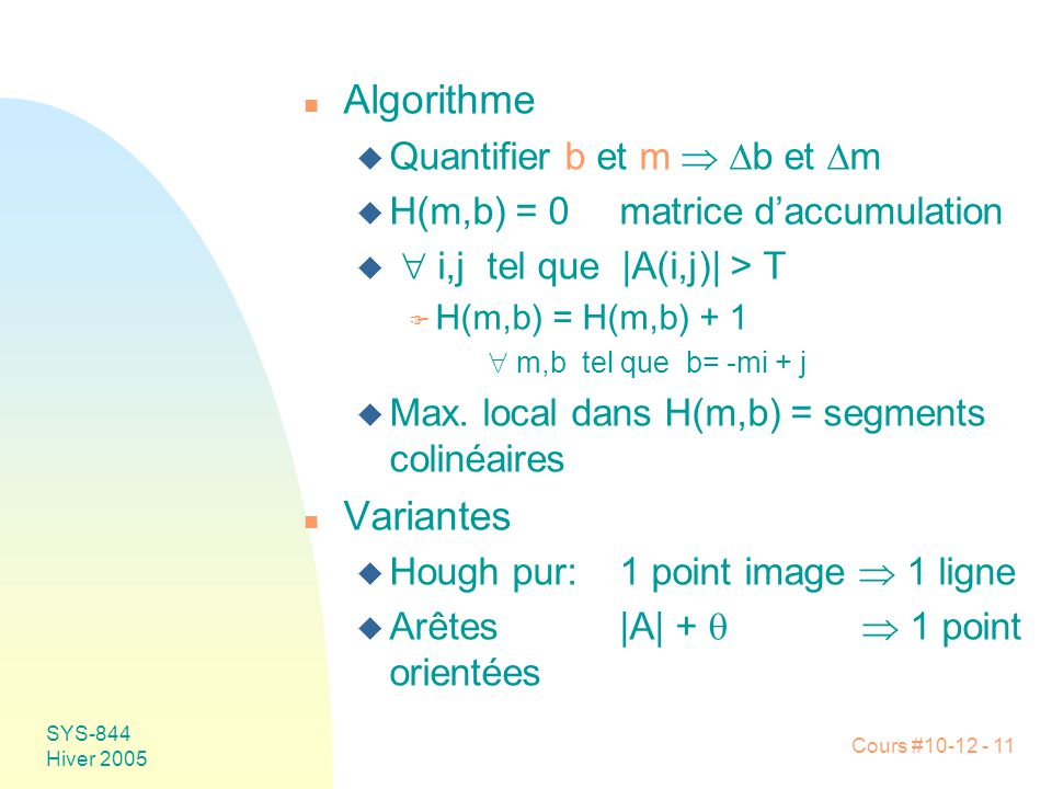 Algorithme Variantes Quantifier b et m  b et m