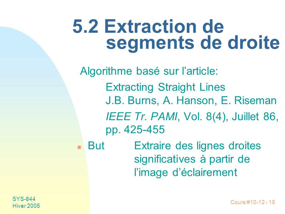 5.2 Extraction de segments de droite
