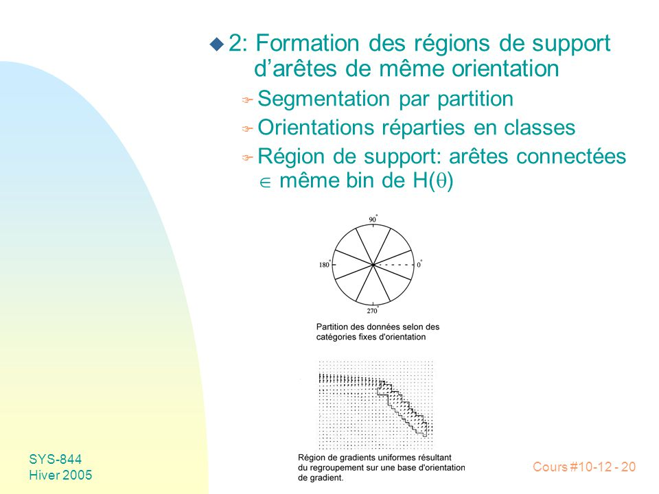 2: Formation des régions de support d'arêtes de même orientation
