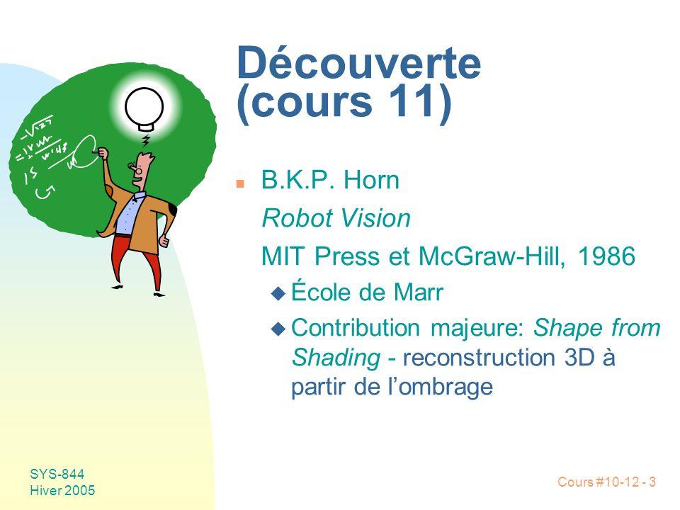 Découverte (cours 11) B.K.P. Horn Robot Vision