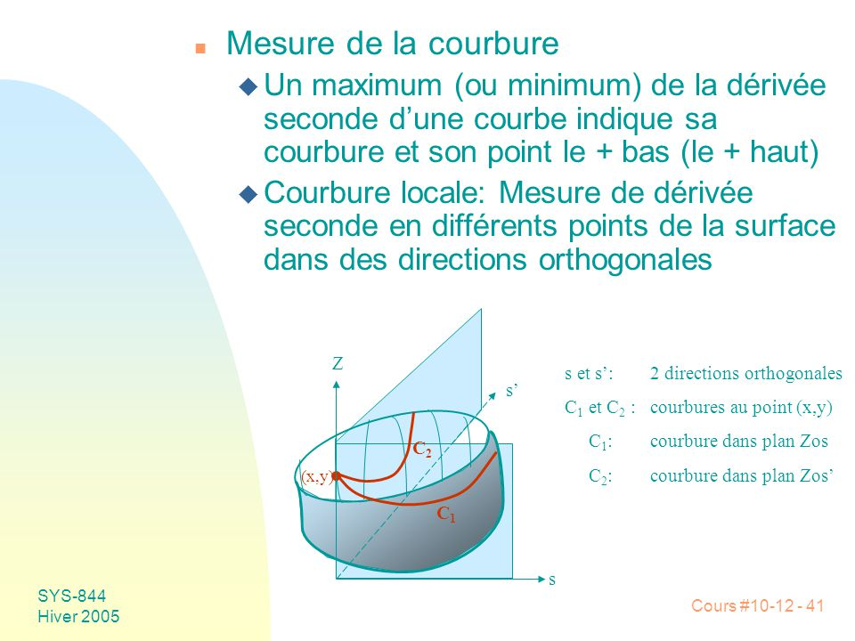 Mesure de la courbure Un maximum (ou minimum) de la dérivée seconde d'une courbe indique sa courbure et son point le + bas (le + haut)