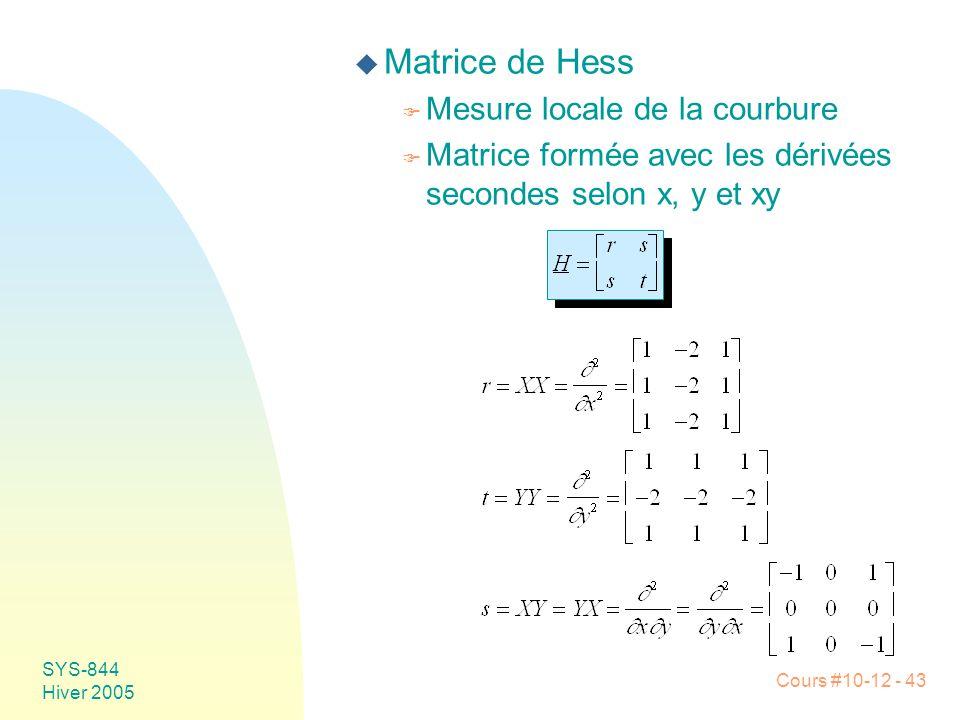 Matrice de Hess Mesure locale de la courbure
