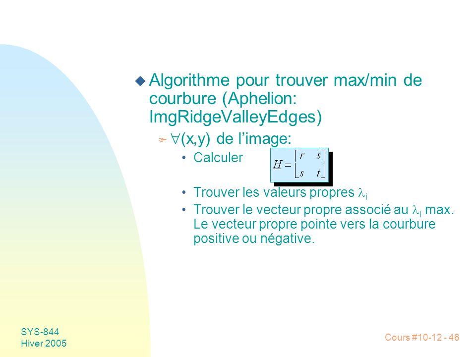 Algorithme pour trouver max/min de courbure (Aphelion: ImgRidgeValleyEdges)