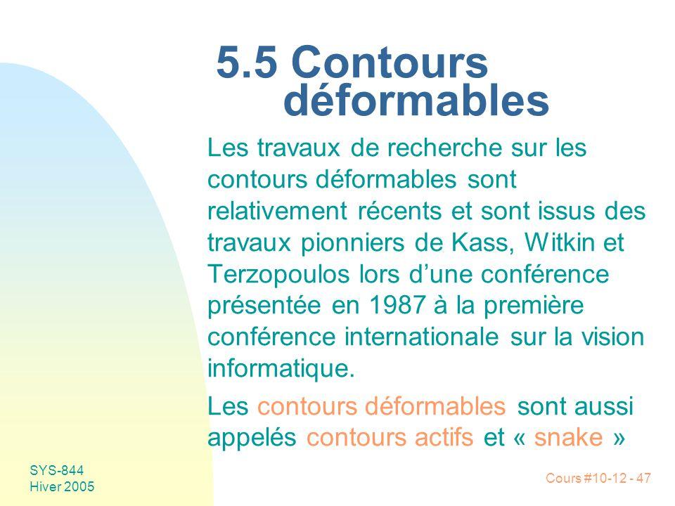 5.5 Contours déformables
