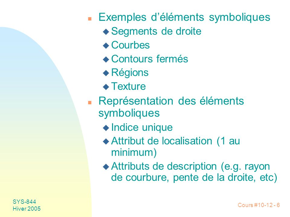 Exemples d'éléments symboliques