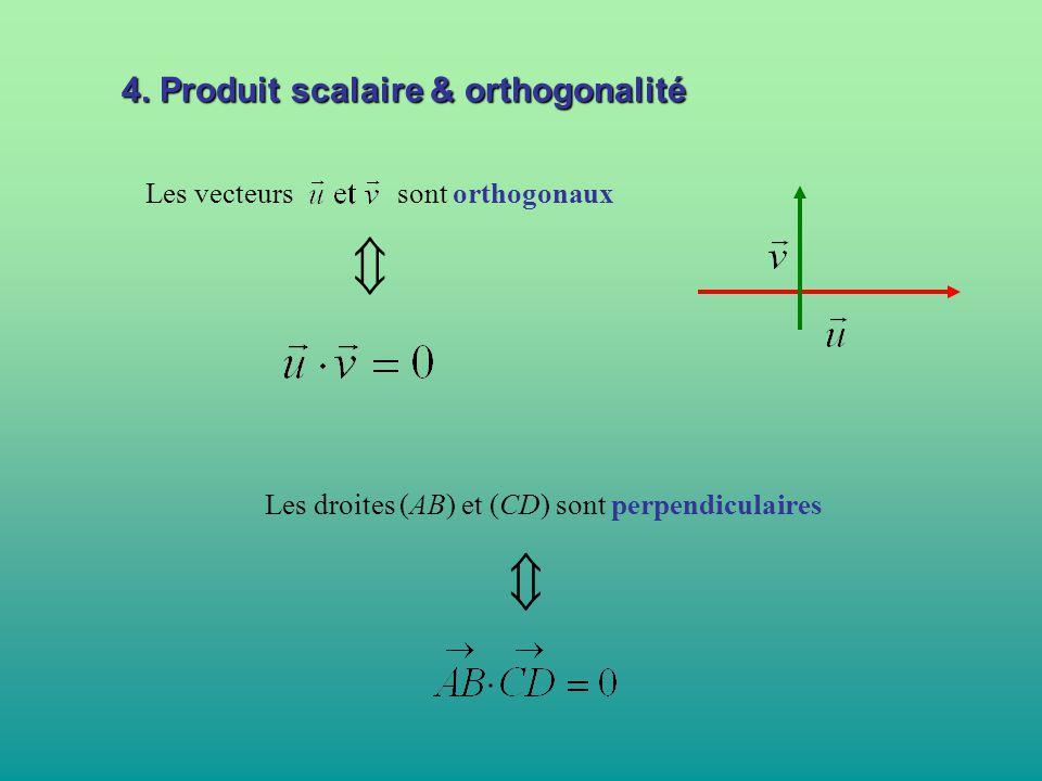   4. Produit scalaire & orthogonalité Les vecteurs sont orthogonaux