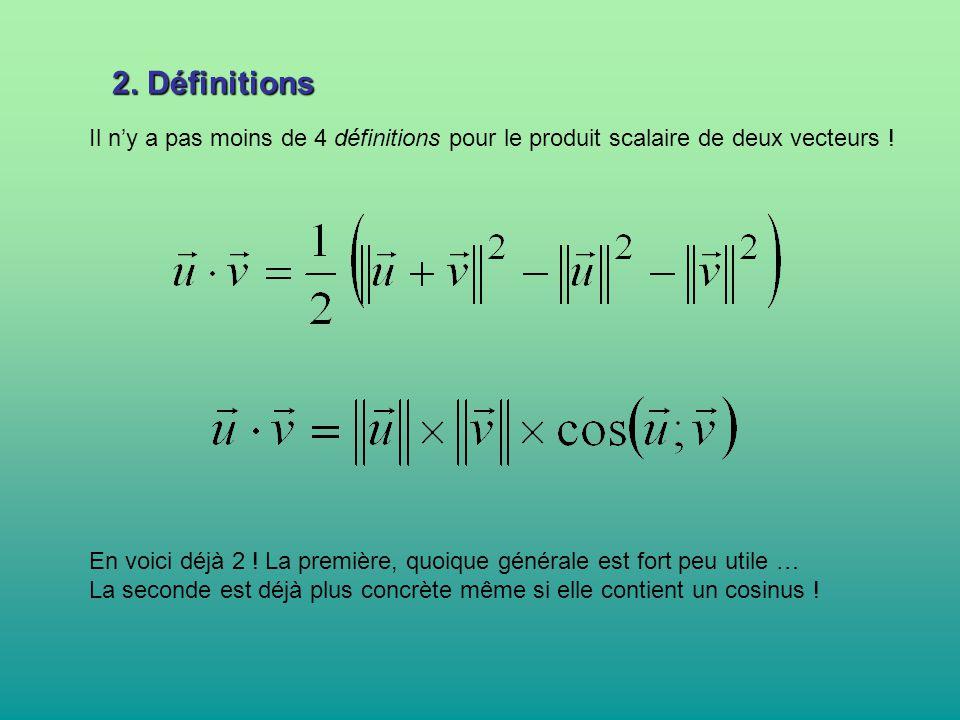 2. Définitions Il n'y a pas moins de 4 définitions pour le produit scalaire de deux vecteurs !