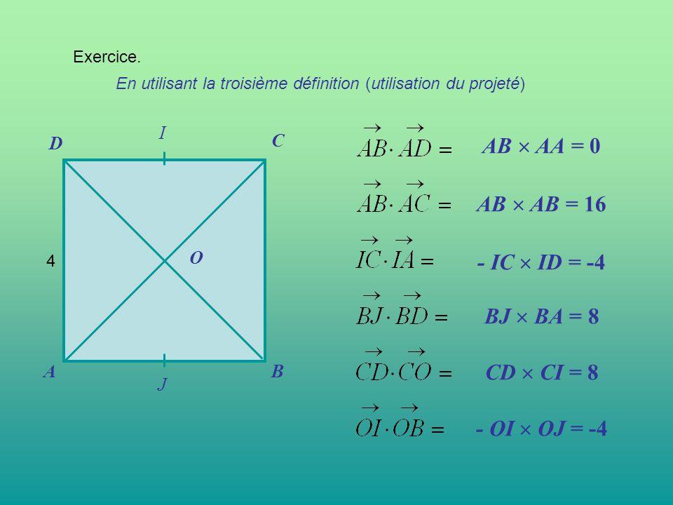 AB  AA = 0 AB  AB = 16 - IC  ID = -4 BJ  BA = 8 CD  CI = 8