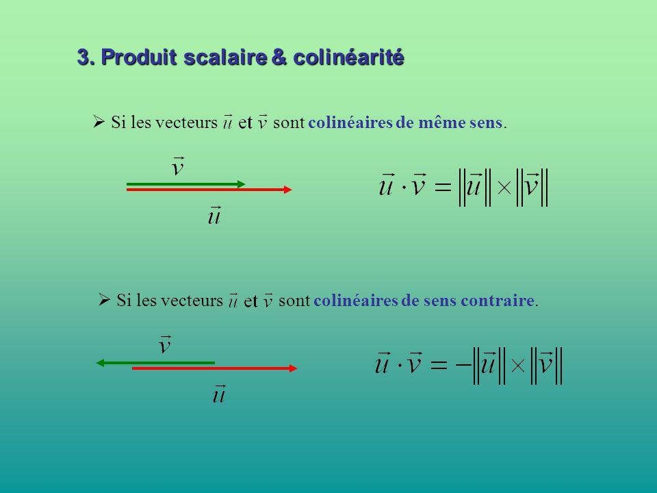 3. Produit scalaire & colinéarité
