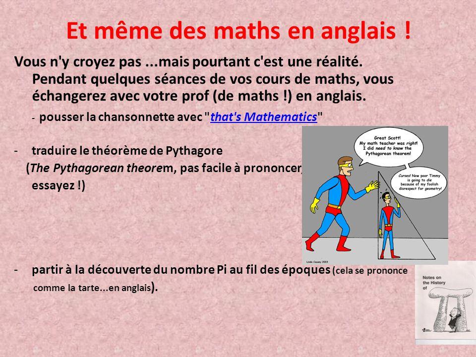 Et même des maths en anglais !