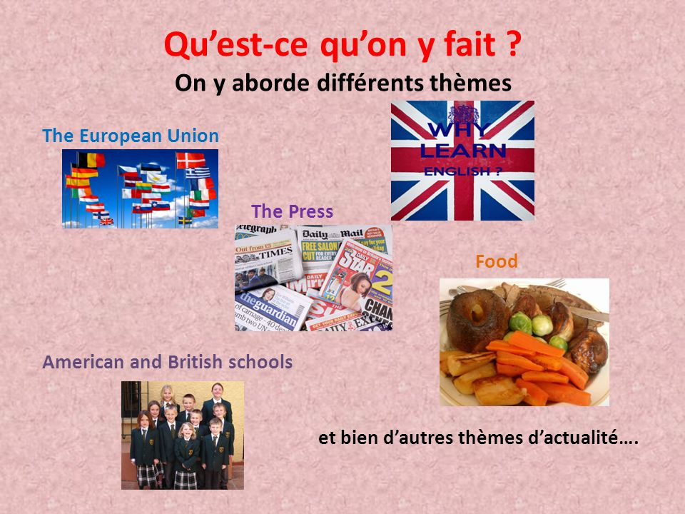 On y aborde différents thèmes