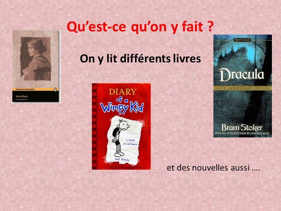 On y lit différents livres et des nouvelles aussi ….